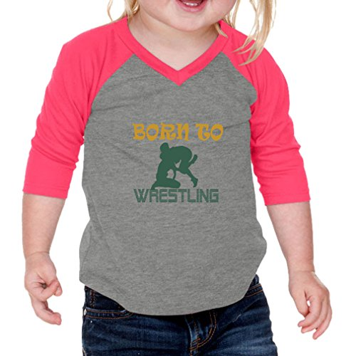 Cute Rascals Born to Wrestling Sport Infants 60/40 Cotton/Polyester Jersey Shirt - Gray Hot Pink, 12 Months by Cute Rascals