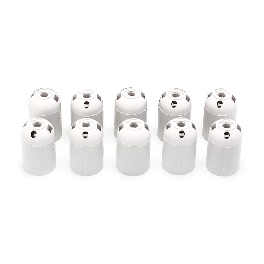 Lamp Base 10pcs 250V 4A Black E27 Light Bulb Lamp Holder Base Pendant Screw Cap Socket - (Color: WHITE) by Kamas (Image #5)
