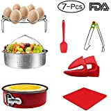 7-pcs Accessories for Instant Pot 5,6, 8 Qt, Steamer Basket, Egg Steamer Rack, Non-Stick Springform Pan, Steaming Stand, Silicone Spoonula,1 Pair Silicone Cooking Pot Mitts by Homtant