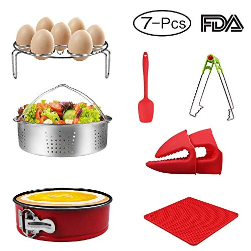 7-pcs Accessories for Instant Pot 5,6, 8 Qt, Steamer Basket, Egg Steamer Rack, Non-Stick Springform Pan, Steaming Stand, Silicone Spoonula,1 Pair Silicone Cooking Pot Mitts by Homtant by Homtant (Image #7)