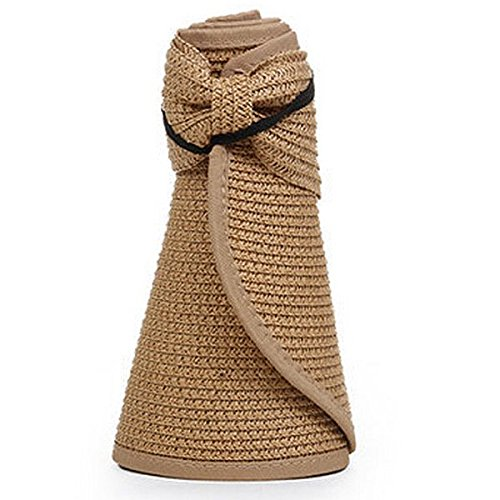 OULII Women Foldable Roll Up Wide Brim Bowknot Summer Beach Sun Visor Straw Hat Cap (Khaki)