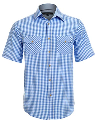 (Double Pump Short Sleeve Shirts for Men with Pockets Western Plaid Shirts Regular Fit(RM03SS08,M))