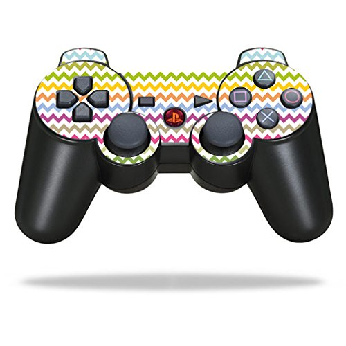 MightySkins Skin Compatible with Sony Playstation 3 PS3 Controller wrap Sticker Skins Rainbow Chevron (Ps3 Controller Rainbow)
