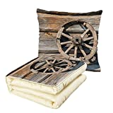 iPrint Quilt Dual-Use Pillow Barn Wood Wagon Wheel Old Log Wall with Cartwheel Telega Rural Countryside Themed Image Decorative Multifunctional Air-Conditioning Quilt Umber Beige