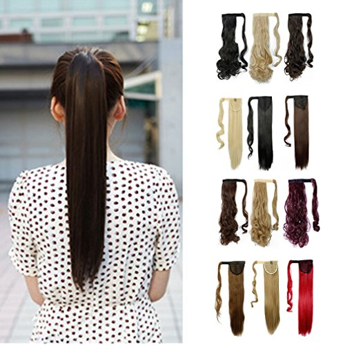 [Wrap Around Synthetic Ponytail One Piece Heat Resistant Magic Paste Pony Tail Long Straight Soft Silky for Women Lady Girls 26'' / 26 inch (dark] (2016 Womens Halloween Costumes Diy)