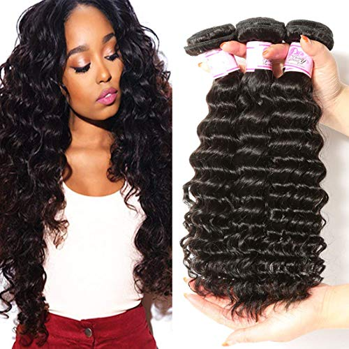 Beauty Forever 7A Virgin Brazilian Hair Deep Curly Wave Bundles 100% Unprocessed Human Hair Extensions (16 18 20inch)
