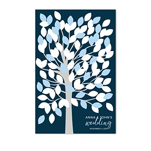 Andaz Press Navy Blue Hydrangea Floral Garden Party Wedding Collection, Personalized Party Signs, Wedding Tree Guest Book Alternative Leaf Signing for 100 Guests, 11x17-inch, 1-Pack, Custom Name Date