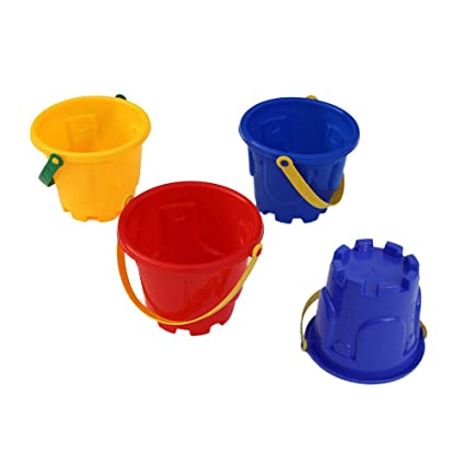 4pcs Beach Toys Plastic Castle Bucket Funny Toys Beach Game Educational Sand Toy Sandbox Toys For Kids Children Home & Garden Buckets