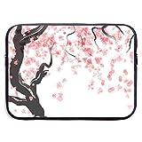 SWAKOJIJI Japanese Cherry Tree Blossom 13/15 Inch Laptop Sleeve Bag for MacBook Air 11 13 15 Pro 13.3 15.4 Portable Zipper Laptop Bag Tablet Bag,Diving Fabric,Waterproof Black
