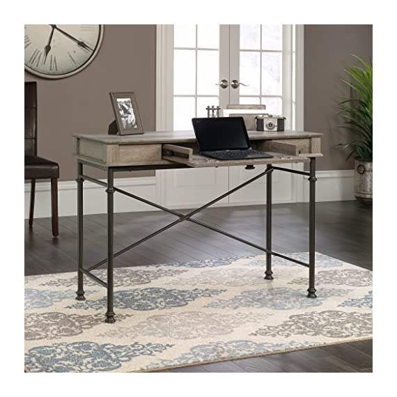 Sauder Canal Street Console Desk, Northern Oak finish - Drawer with flip-down front features full extension slides Finished on all sides for versatile placement Decorative, powder coated metal frame - writing-desks, living-room-furniture, living-room - 510hzf6ud2L. SS570  -