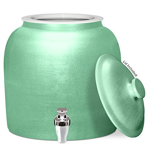 ain Ceramic Water Dispenser Crock with Faucet - LEAD FREE (Polished Green) ()