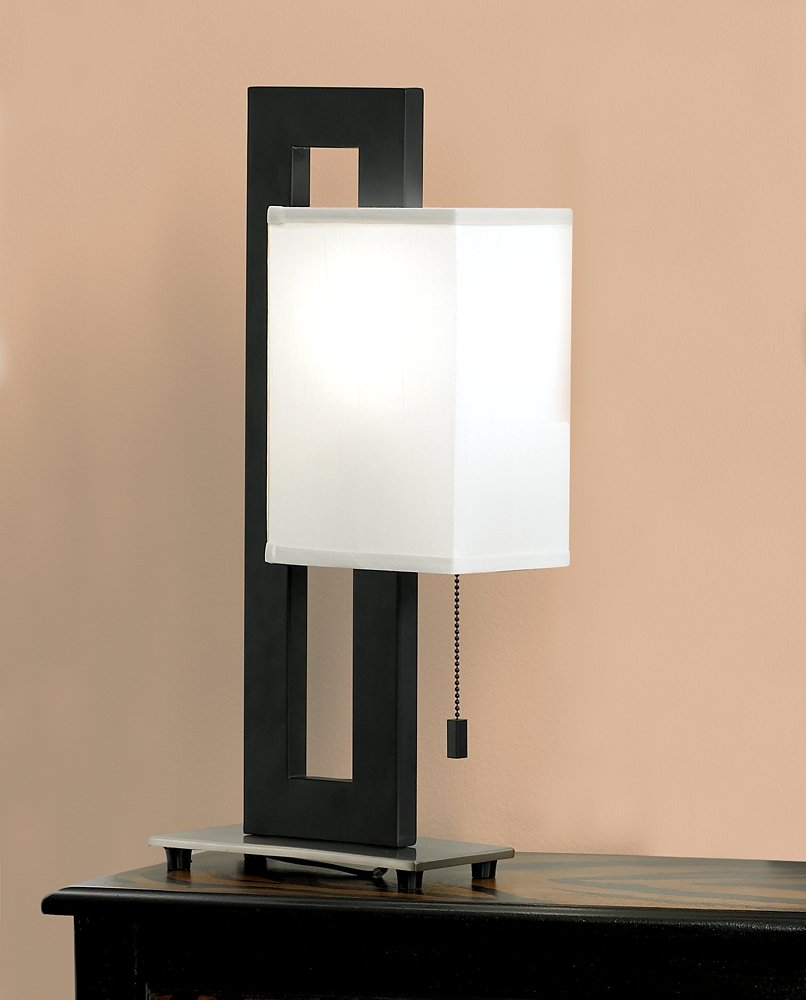 Black and brushed nickel floating square table lamp contemporary black and brushed nickel floating square table lamp contemporary lamps amazon mozeypictures Gallery