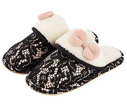 Cattior Dames Boog Fleece Indoor Warme Slippers Zachte Pantoffels Zwart