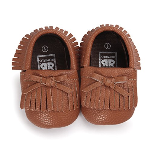 Infant Baby Soft Sole PU Leather Boy Girl Toddler Moccasin Prewalker Shoes (0-6months, pure brown) (New Infant Baby Crib Shoes)