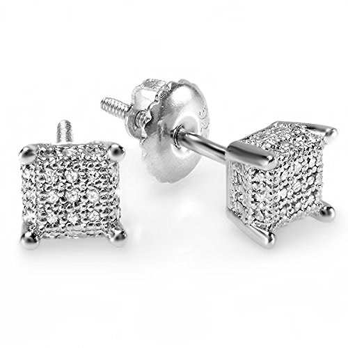 0.30 Carat (ctw) Sterling Silver White Diamond Ice - Mens Earrings Cube
