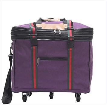 HW Maleta con Ruedas, Bolsa de Equipaje Grande Plegable, Cabina Equipaje- Maleta con 6 Ruedas,Purple: Amazon.es: Hogar