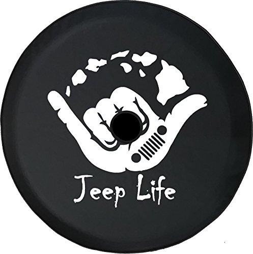Rear Tire Covers - American Unlimited JL Series Spare Tire cover with Backup Camera Hole Jeep Life Hawaiian Island Surfing Black 32 in