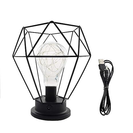 Diamante Lámpara de cabecera Nordic Iron Wire Lámpara de ...