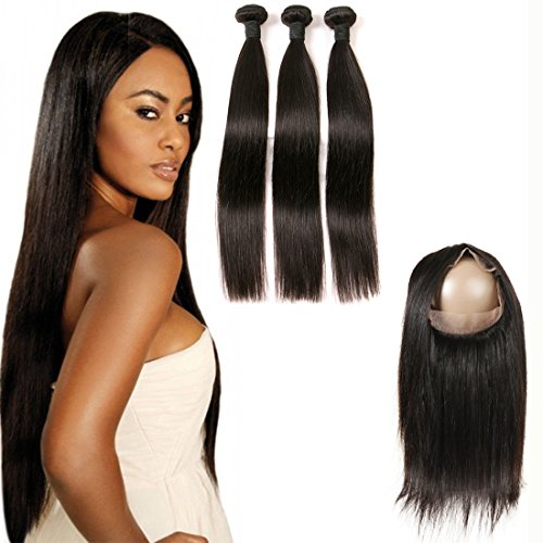 360 Frontal Closure Human Hair Piece Brazilian Straight Hair With 360 Lace Frontal Pre Plucked Natural Hairline With Baby Hair Bleached Knots Unprocessed Virgin Human Hair For Women 1B 16 18 20+14 -