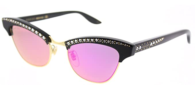 a0791406f8198 Image Unavailable. Image not available for. Color  Gucci GG 0153S 001 Black  Plastic Cat-Eye Sunglasses ...