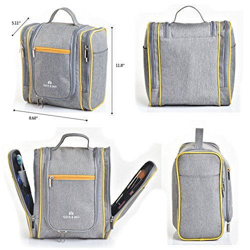 Hanging Toiletry Bag – Large Travel Toiletries Organizer with Strong Metal Hook, Zippers – Waterproof, Compact, Portable Mens & Womens Toiletry Kit Hiking Bag – Unisex Shower Bag by Alice & Ben, Grey by Alice & Ben (Image #5)