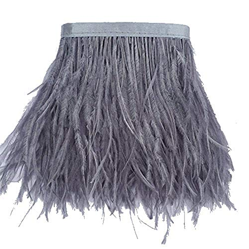 KOLIGHT Pack of 10 Yards Natural Dyed Ostrich Feathers Trim Fringe 4~5inch for DIY Dress Sewing Crafts Costumes Decoration (Gray) -