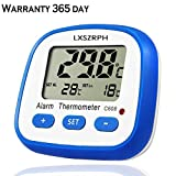 Reptile Thermometer Digital LXSZRPH Aquarium Thermometer with High Low Temperature Alarm Snail Terrarium Thermometer with Magnets,Stand,Velcro