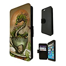 896 - Tea Dragon, Martini Dragon, White Wine Dragon Design iphone 4 4S Fashion Trend TPU Leather Case Full Flip Credit Card TPU Leather Purse Pouch Defender Stand Cover