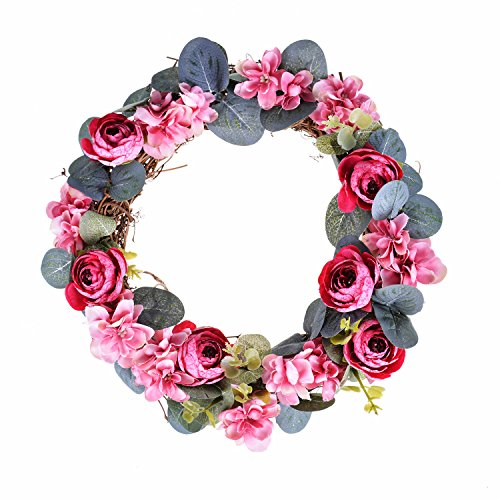 FAVOWREATH 2018 Vitality Series FAVO-W02 Handmade 11 inch Pink Mini Tea Bud Flowers Grapevine Wreath For Summer/Fall Festival Front Door/Wall/Home/Fireplace/Farmhouse Nearly Natural Hanger Decor by FAVOWREATH