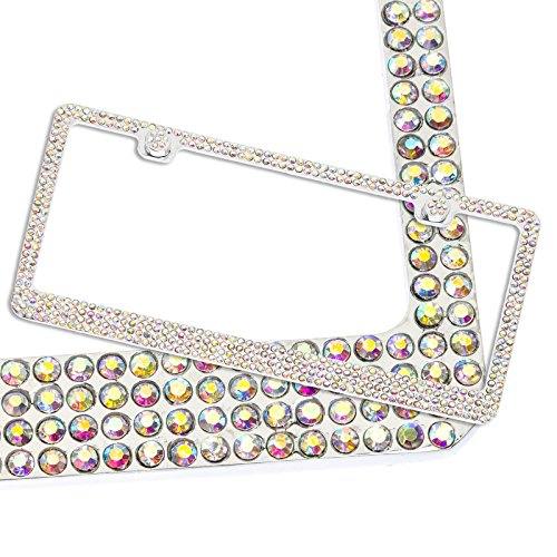 stainless-steel-rhinestone-crystal-license-plate-frame-w-4-rows-aurora-borealis