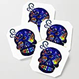 Society6 Drink Coasters, Mexican Sugar Skull Folk Art by bohemianbound, set of 4