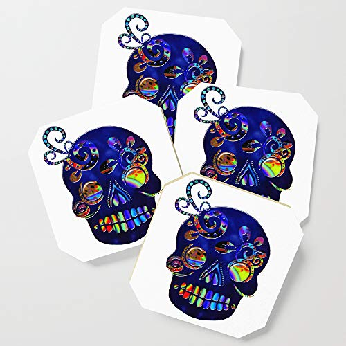 Society6 Drink Coasters, Mexican Sugar Skull Folk Art by bohemianbound, set of 4 by Society6