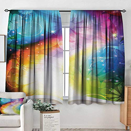 (Mozenou Magical Waterproof Window Curtain Psychedelic Open Book of Fairy Tales on Gradient Rainbow Color Floral Background Waterproof Window Curtain 55