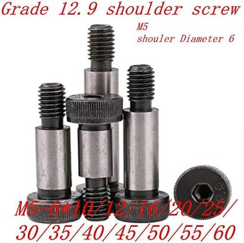 Screw 20PCS M5 Threaded Shoulder 6mm Shaft 12.9 Grade Alloy Steel Hexagon Socket Head Roller Bearings Shoulder Screw Bolt Size: M5 Shoulder 6, Length: 35mm