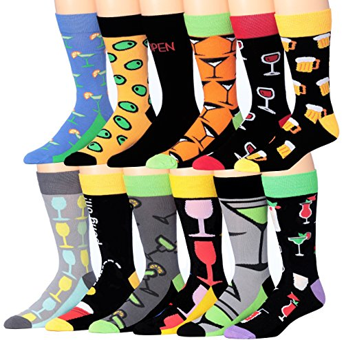 Colorfut Men's 12 Pairs Colorful Cotton Novelty Beer & Wine Cheers Socks Dress Socks, Fits shoe 6-12 (sock size 10-13), CMC05-12