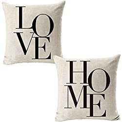 All Smiles 2 Pack Quote Love Home Words Throw Pillow Case Cushion Cover Decorative 18x18 Decor