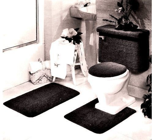 Madison Industries 5 Piece Rug And Toilet Tank Set Black