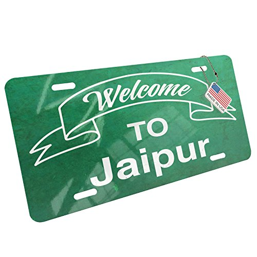 - Metal License Plate Green Sign Welcome To Jaipur - Neonblond