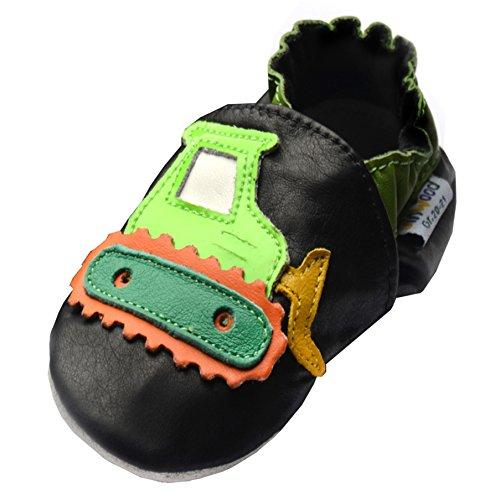 Jinwood Modelle Div black Leder Boys Sole 19 designed Echt Lederpuschen shoes by Hausschuhe 17 Groeßen 35 mini Soft Shoes amsomo Verschiedene Mini digger Krabbelschuhe 12 Jungen 36 TXSXAxrwqn
