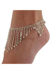 Rhinestone Anklet Bracelet Austrian Crystal Silver Tone Beads Ankle Clear
