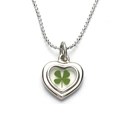 Amazon stainless steel real irish four leaf clover heart shaped stainless steel real irish four leaf clover heart shaped pendant necklace 16 18 inches aloadofball Image collections