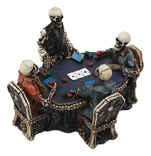 Poker Figurine - Ebros Skeleton Gamblers For Life Statue 6.25