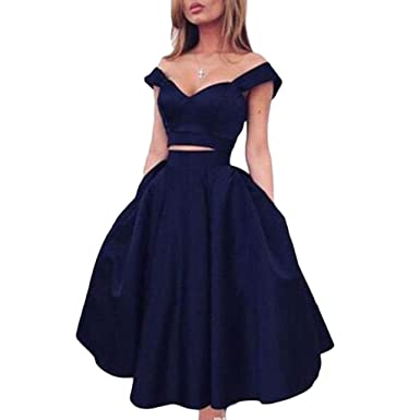 Sexy Two Pieces Homecoming Prom Party Dresses 2017 For Juniors Navy-US2