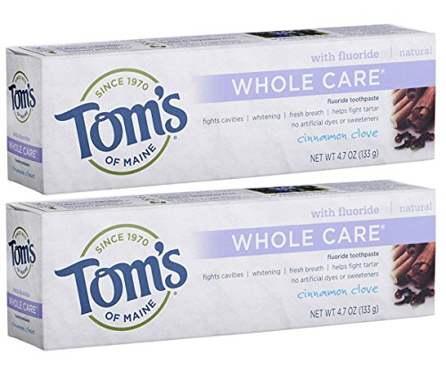 Tom's of Maine Whole Care Fluoride Toothpaste, Cinnamon Clove, 4.7 Ounce, 2 Count ()