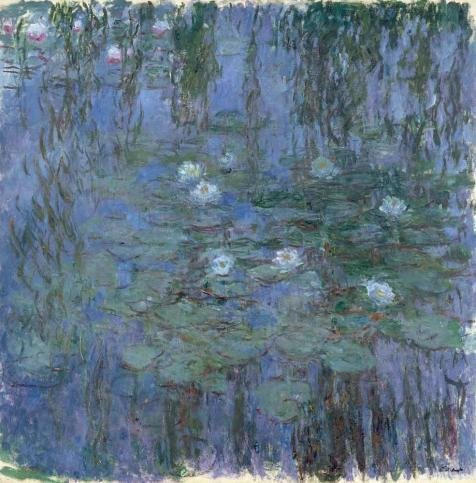 Oil Painting 'Nympheas Bleus (Blue Water Lilies) , 1916-1919 By Claude Monet' 16 x 16 inch / 41 x 41 cm , on High Definition HD canvas prints is for - San Centers Shopping Francisco