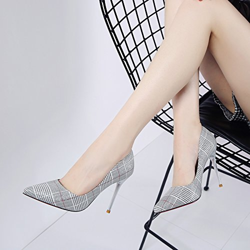 Tip Followed Shoes Work white Fashion MDRW Spring Color Elegant Grid High creamy Shoes Lady Single Light Paste Fine 10Cm Leisure Heeled Shoes Woman qSvBn7BXxw