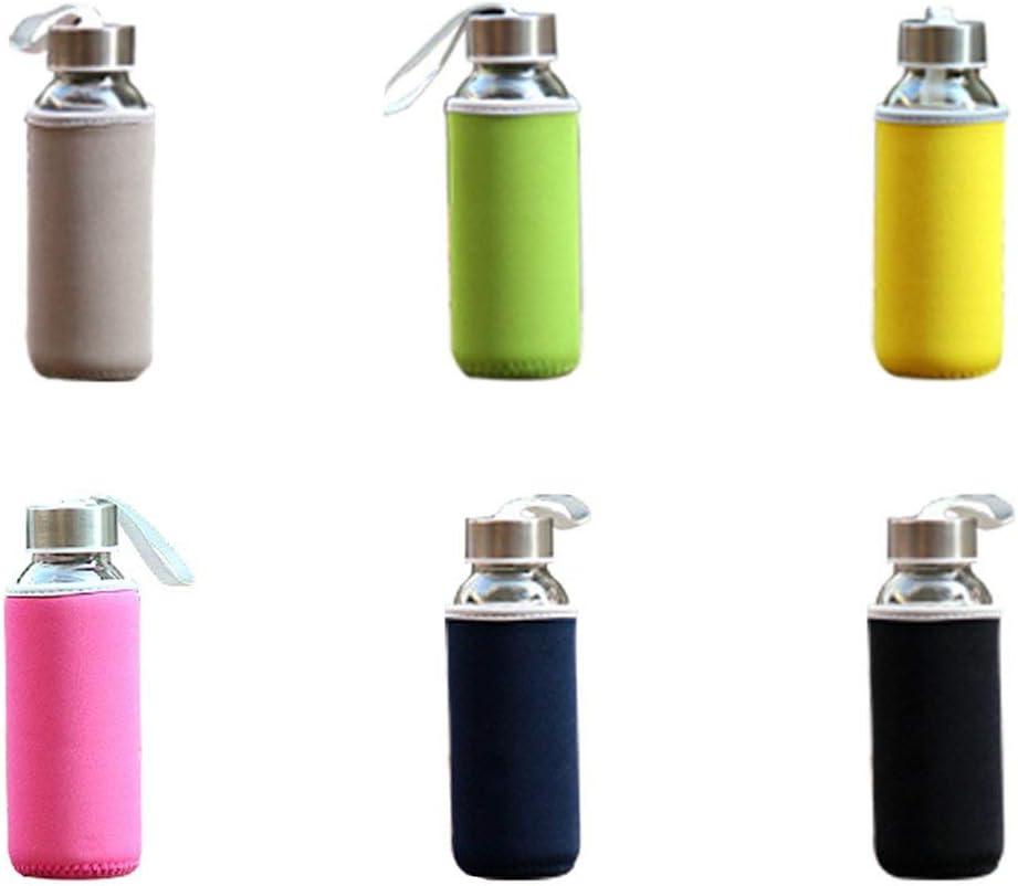 Garciasia Botella de Agua de Vidrio de 300 ml Botella de Agua de Vidrio de borosilicato con Funda de Tela Botella de Bebida de Viaje portátil (Color: Gris)