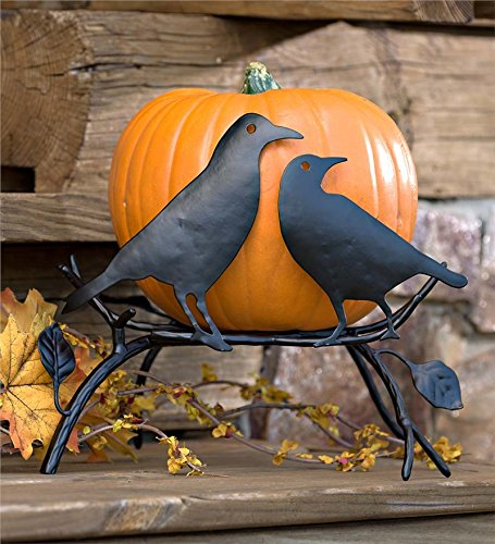 Plow & Hearth 87971 Ravens On Branch Pumpkin Holder Display Stand Halloween Decoration, 16.5