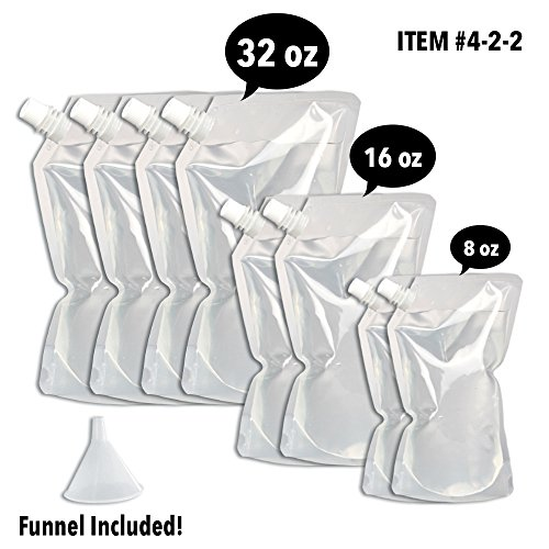 Concealable And Reusable Cruise Flask Kit - Sneak Alcohol Anywhere - 4 x 32 oz + 2 x 16 oz + 2 x 8 oz + 1 funnel