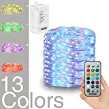 Hometarry LED String Lights - Battery Operated Lights Multi Color Changing String Lights Remote Control Waterproof 100LEDs 33 ft Indoor Decorative Silver Wire Lights for Bedroom - Christmas lights
